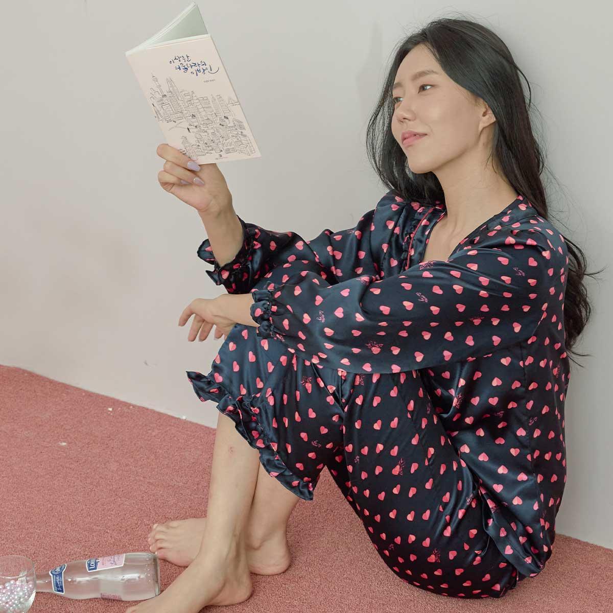 폴리 샤무즈 하트나염 여성 파자마(SPAC701W)