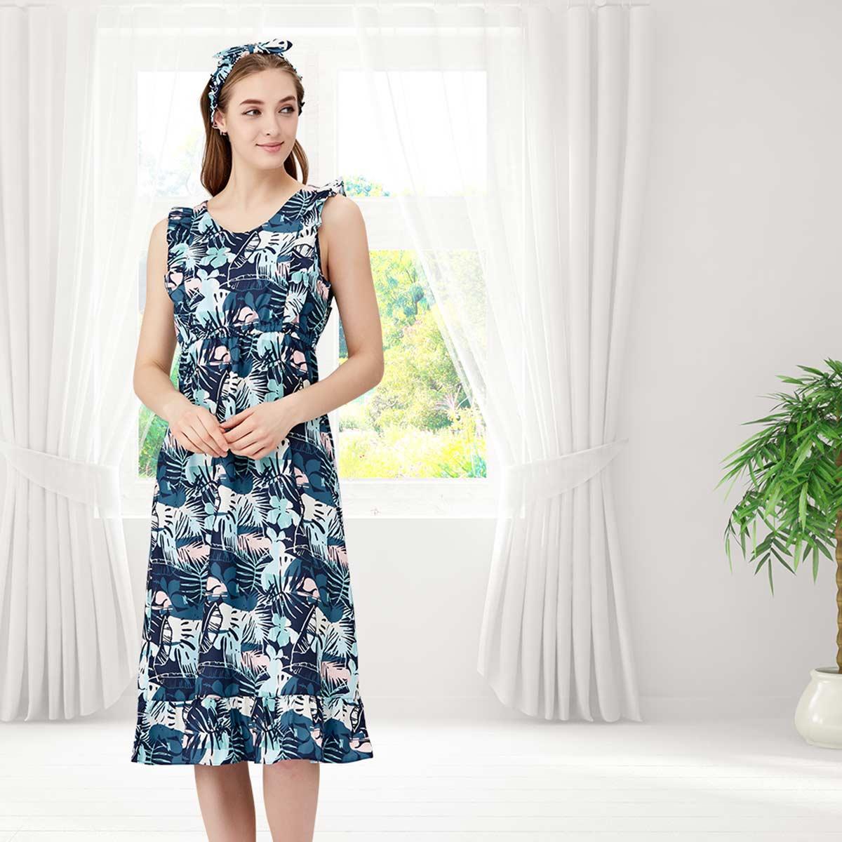 슬러브 하와이언 프린트 비치 드레스(VEV3416L)