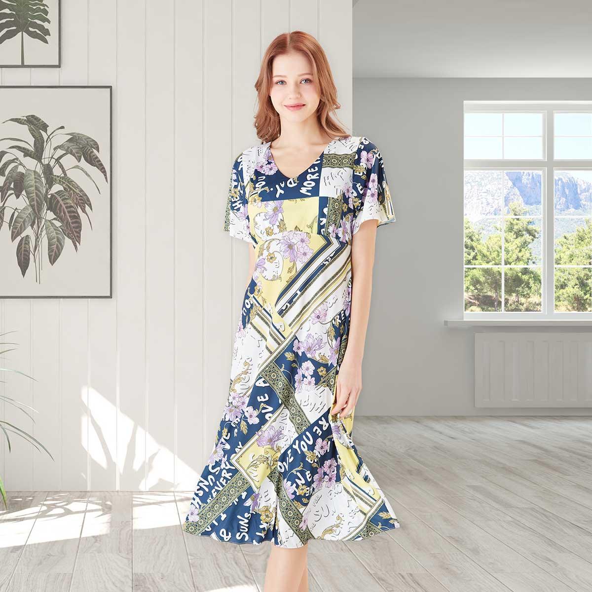폴리 레터링 꽃나염 컵 드레스(VGN7427)