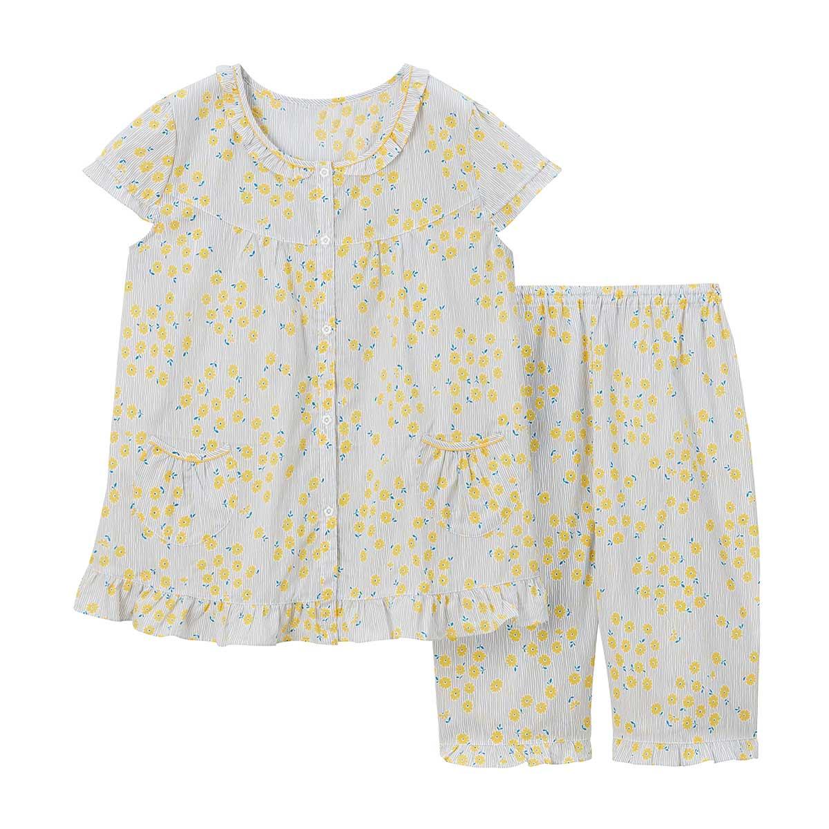 노란꽃나염 여성 아사 파자마(YPA6247W)
